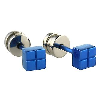 Ti2 Titanium Square Stud Earrings - Navy Blue