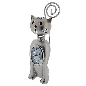Gift Time Products Upright Springy Cat Mini Clock - Silver