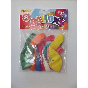 Ballonnen cijfer 50 no. 12 eenzijdig 5 zakjes met 8 stuks