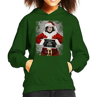 Christmas Mugshot Jon Snow Kid's Hooded Sweatshirt