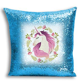 i-Tronixs - Unicorn Printed Design Blue Sequin Cushion / Pillow Cover with Inserted Pillow for Home Decor - 9