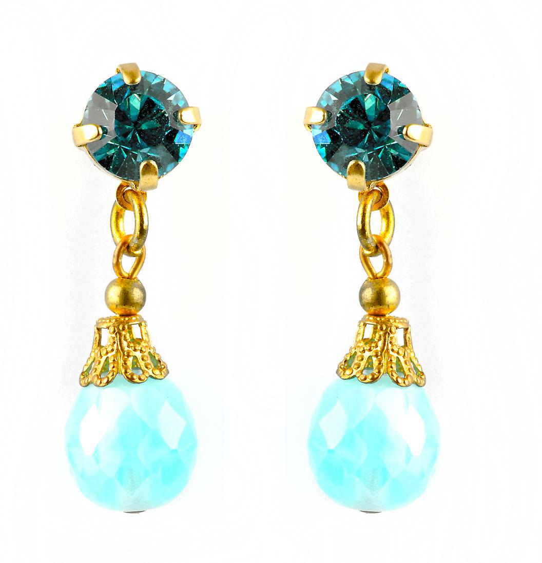 Waooh - Fashion Jewellery - WJ0681 - On Earrings with Swarovski Blue - Frame Colour Gold