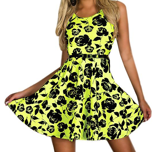 Waooh - Fashion - Skater Dress Rose Print