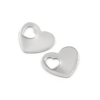 Packet 5 x Silver 304 Stainless Steel 15 x 18mm Heart Charm/Pendant ZX20110