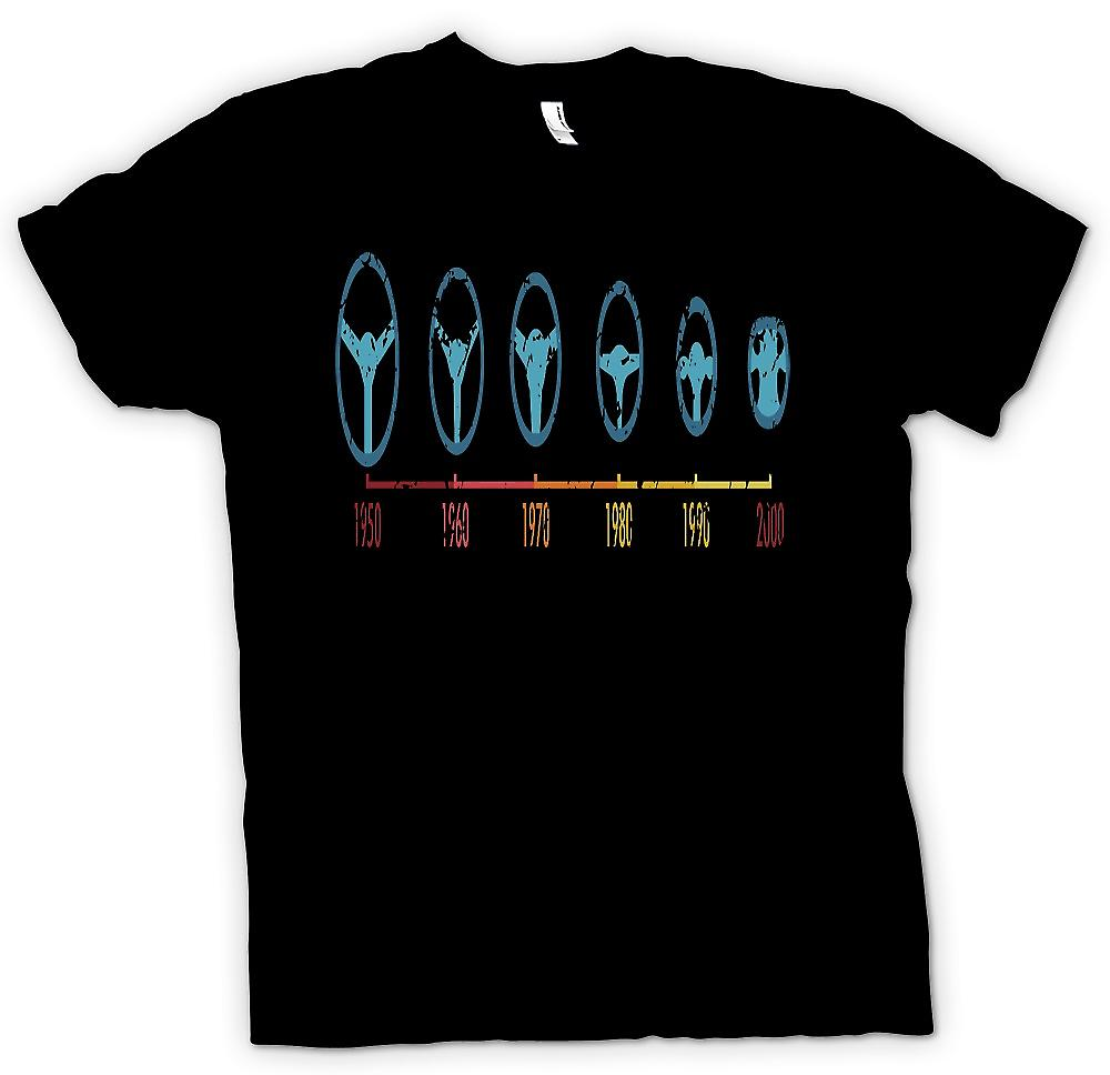 Mens T-shirt - F1 Stages Of Steering Wheel - 1950 to 20