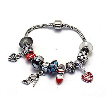 Toc Beadz ' Super Mom ' Red and Black Bead Bracelet Mum Mothers Day Gift