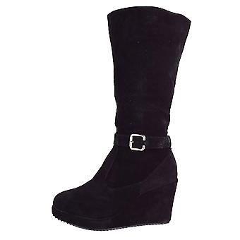 Lovemystyle Knee High Boots With Wedge Platform In Black