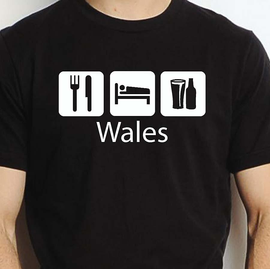 Eat Sleep Drink Wales Black Hand Printed T shirt Wales Town