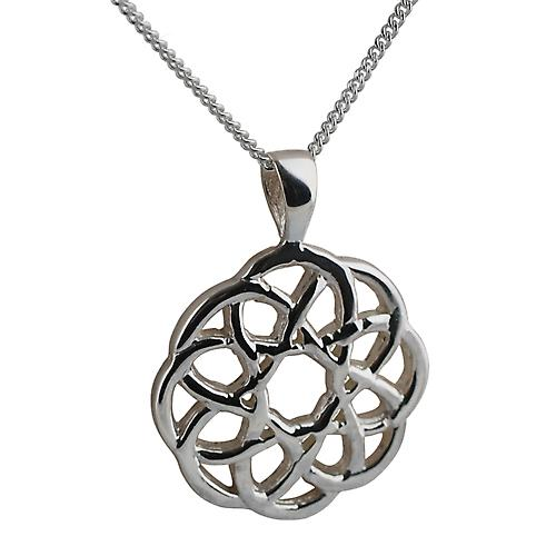 Silver 17mm Celtic knot Pendant with a curb Chain 18 inches