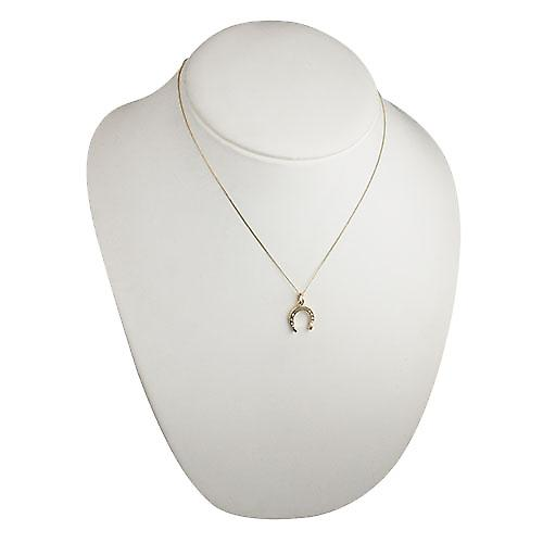 9ct Gold 15x14mm horse shoe Pendant with a curb chain