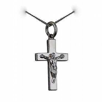 9ct White Gold 20x12mm solid block Crucifix Cross with a curb Chain 20 inches