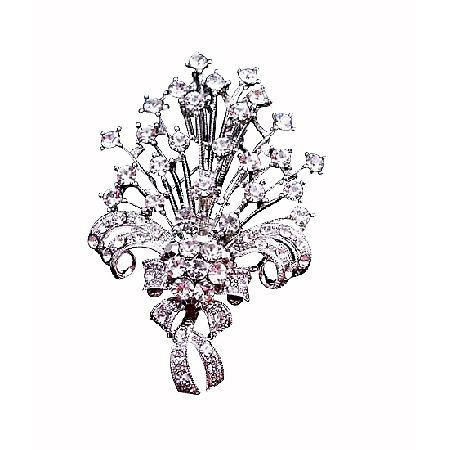Sparkling Bouquet Brooch Fully Embedded with Simulated Diamond