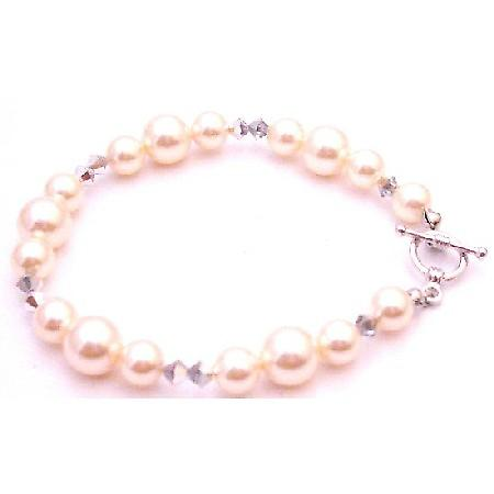 Best Gift For Bridesmaid Ivory Pearl Comet Crystals Swarovski Bracelet