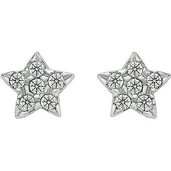 Bella Star Cubic Zirconia Stud Earrings - Silver
