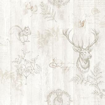 Stag Wood Panel Wallpaper Wooden Effect Grains Animal Print Trees Leaves Holden Cream
