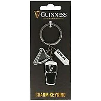 Guinness keyring with Pint, Harp and Dublin sign charms (sg 5642)