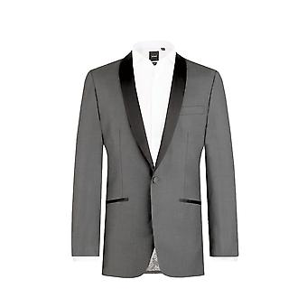 Dobell Mens Charcoal Tuxedo Dinner Jacket Slim Fit Contrast Shawl Lapel