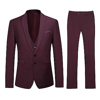 Allthemen Korean Version Slim Two-Button Men's Business Casual 3-Piece Suit Blazer Vest Trousers