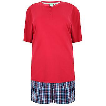D555 Donker rode T-Shirt met geweven ingecheckte Shorts