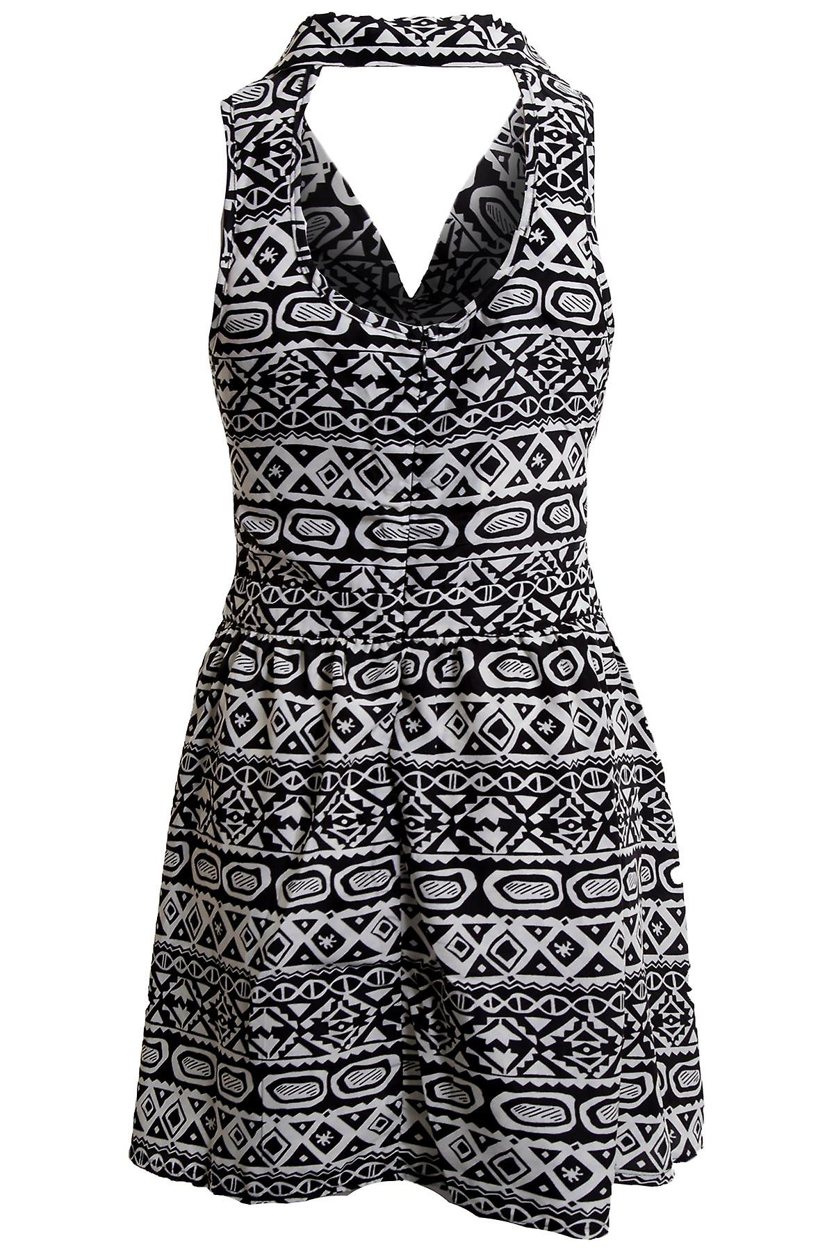 New Ladies Black White Tribal Aztec Print Buttoned Open Neck Women's Dress