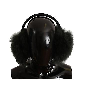 Green shearling alpaga wool ear muffs