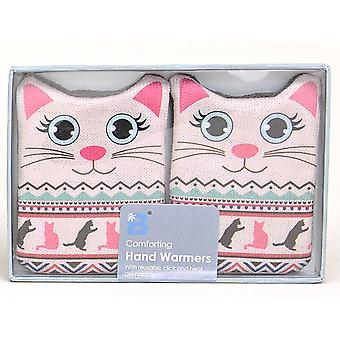 Fair Isle Animal Click & Heat Gel Hand Warmers (Pair): Cat