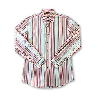 Paul Smith London slim fit shirt in pink/coral stripes