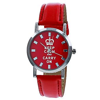 Keep Calm and Carry On Quartz Movement Red Dial Unisex Fashion PU Red Strap Watch UJ22D