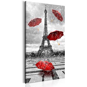 Canvas Print - Paris: Red Umbrellas