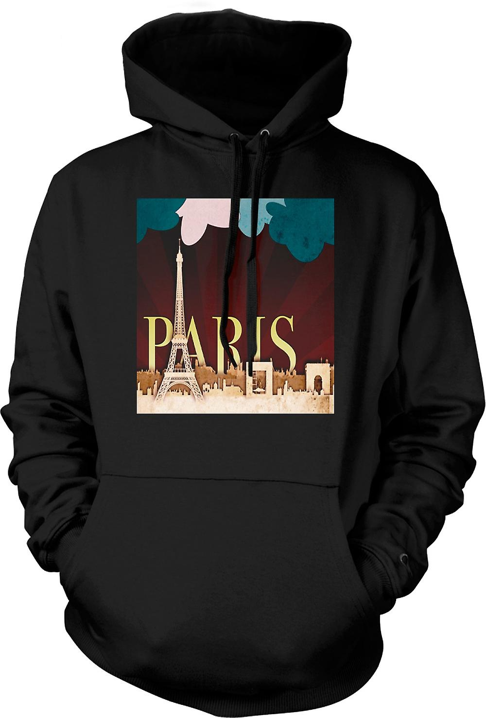 Mens Hoodie - Cool Retro Paris Poster