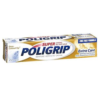 Super poligrip denture adhesive cream, extra care, 2.2 oz