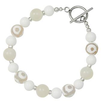 Eternal Collection Portamento Moonstone White Jade Beaded Bracelet