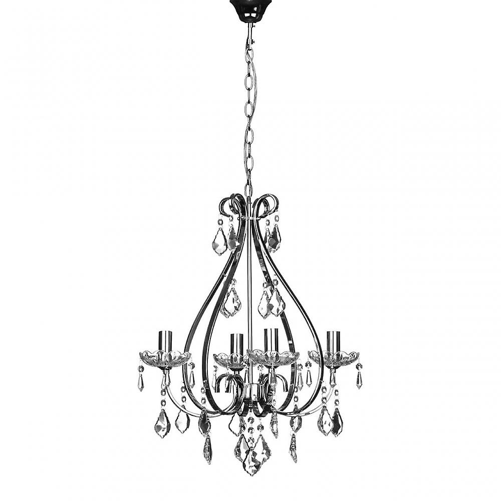 Premier Home Dominique Chandelier, Chrome, Crystal, argent