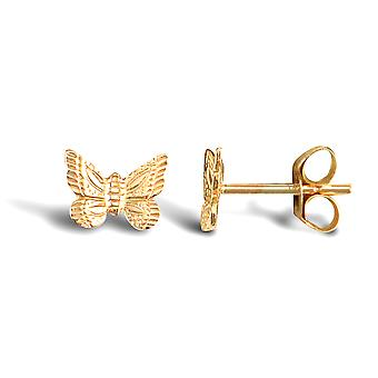 Jewelco London Ladies 9ct Yellow Gold Butterfly Stud Earrings
