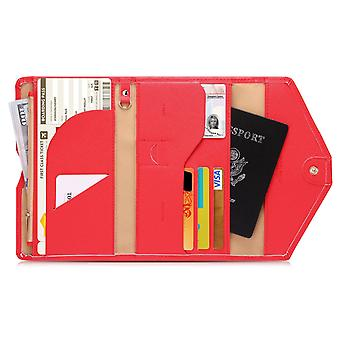 RFID protection-Red Travel wallet Passport case