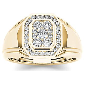IGI Certified 10k Yellow Gold 0.50Ct Real Diamond Men's Halo Wedding Band Ring
