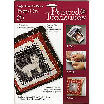 Printed Treasures Iron On Ink Jet Fabric Sheets White 8 1 2