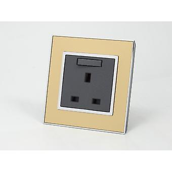 I LumoS AS Luxury Gold Mirror Glass Single Switched Wall Plug 13A UK Sockets