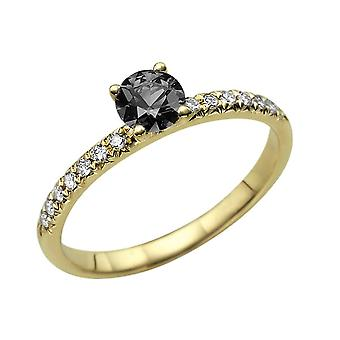 1.14 CTW 14K Yellow Gold Black Diamond Ring with Diamonds Classic Gentle Solitaire