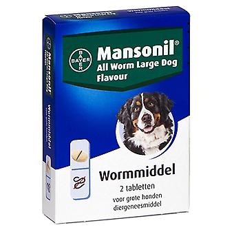 MANSONIL GROTE HOND ALL WORM TABLETTEN 2 ST