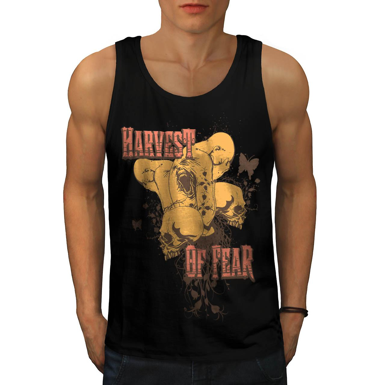 Harvest Fear Skull Zombie Men Black Tank Top | Wellcoda