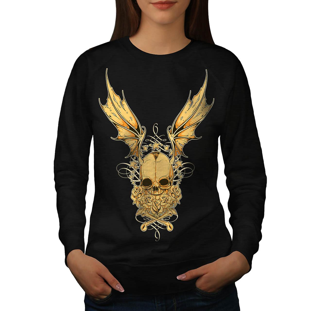 Evil Horror Skull Fly Devil Wing Women Black Sweatshirt | Wellcoda