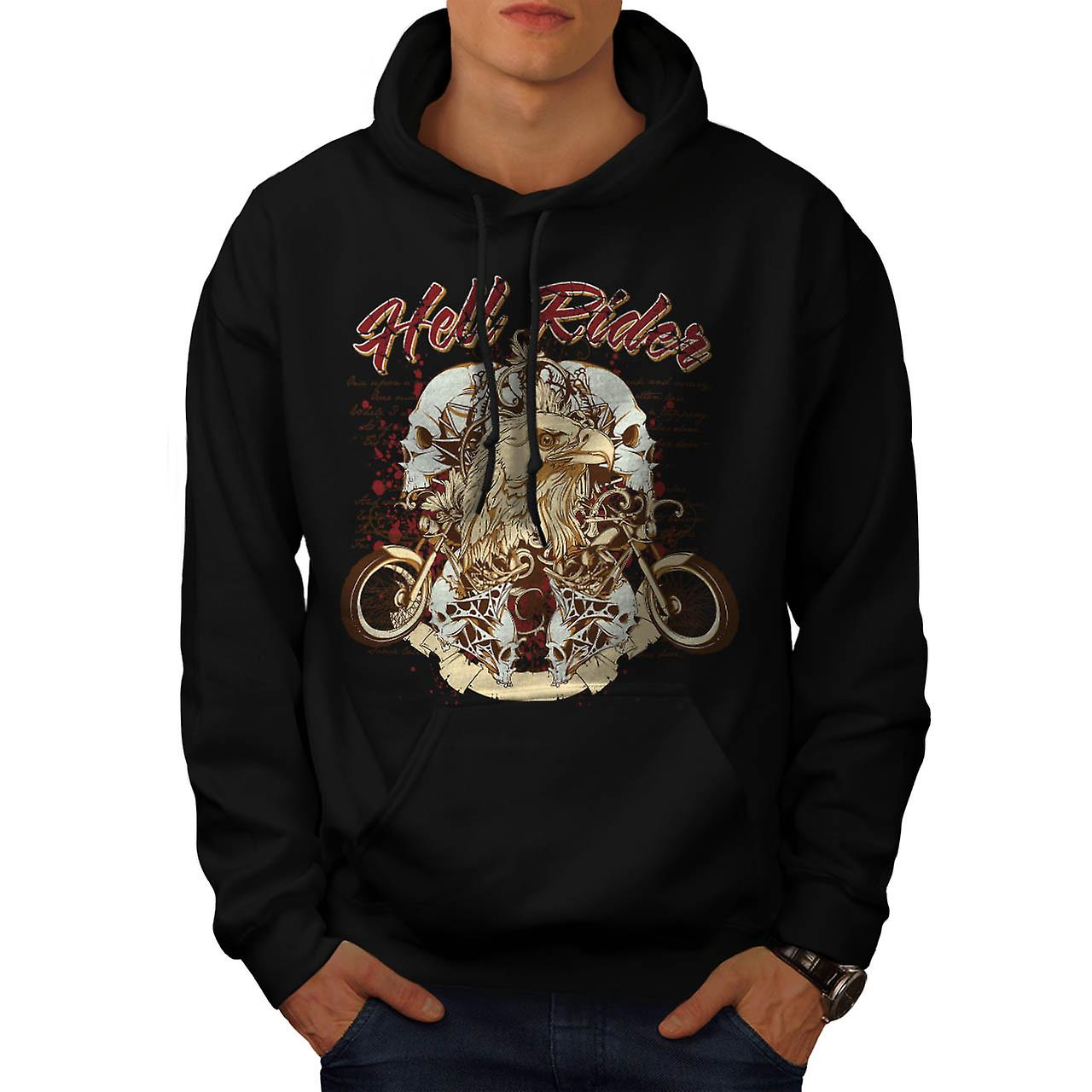 Hell Rider Biker Life Eagle Bike Men Black Hoodie | Wellcoda