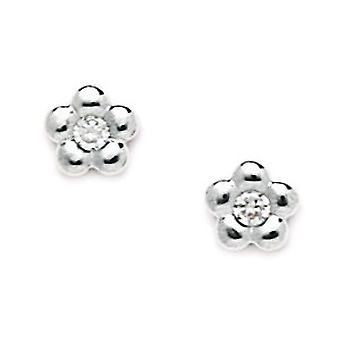 14 k or blanc CZ Small Screwback boucles d'oreilles fleur - mesures 7x7mm