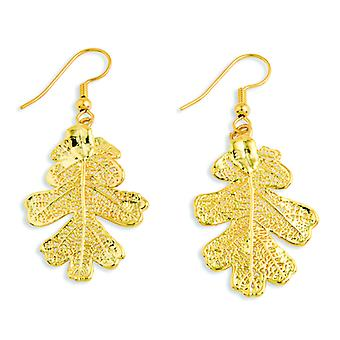 24k Gold Dipped Oak Leaf Dangle Earrings