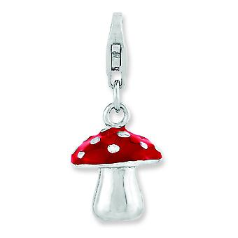Sterling Silver Fancy Lobster Closure Rhodium-plated 3-d Enameled Mushroom With Lobster Clasp Charm