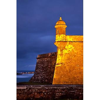 El Morro Fort lit up Old San Juan Puerto Rico Poster Print by Brian Jannsen
