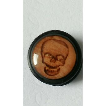 Fake Cheater Ear Plug, Earring, Body Jewellery, Wood Skull