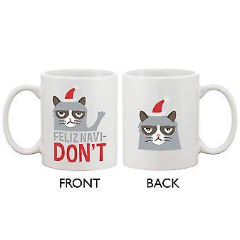 Niedliche mürrische Katze Urlaub Kaffee-Haferl - Feliz Navidon't lustige Kaffee Becher Tasse
