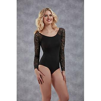 Basic Body With Long Sleeves In Lace-Black